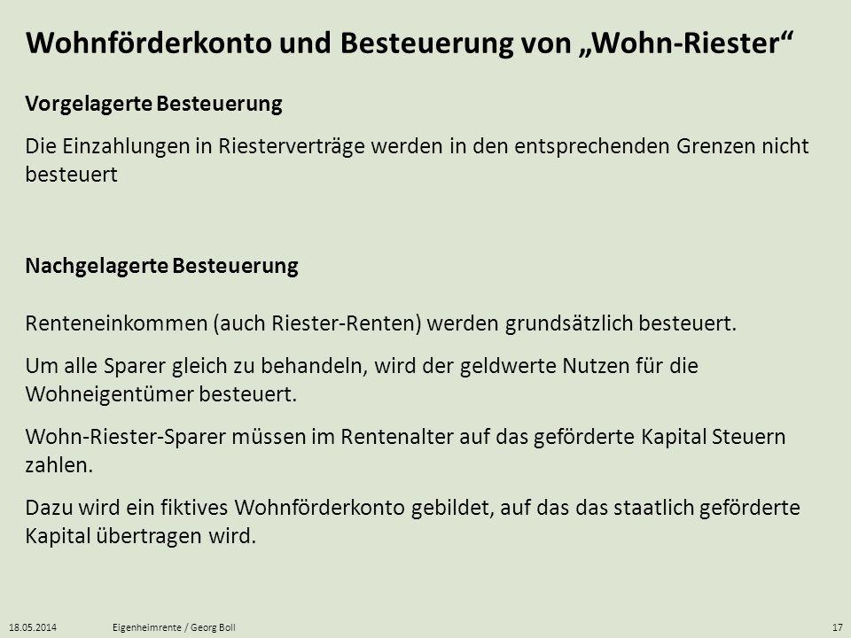 """Wohnförderkonto und Besteuerung von """"Wohn-Riester"""