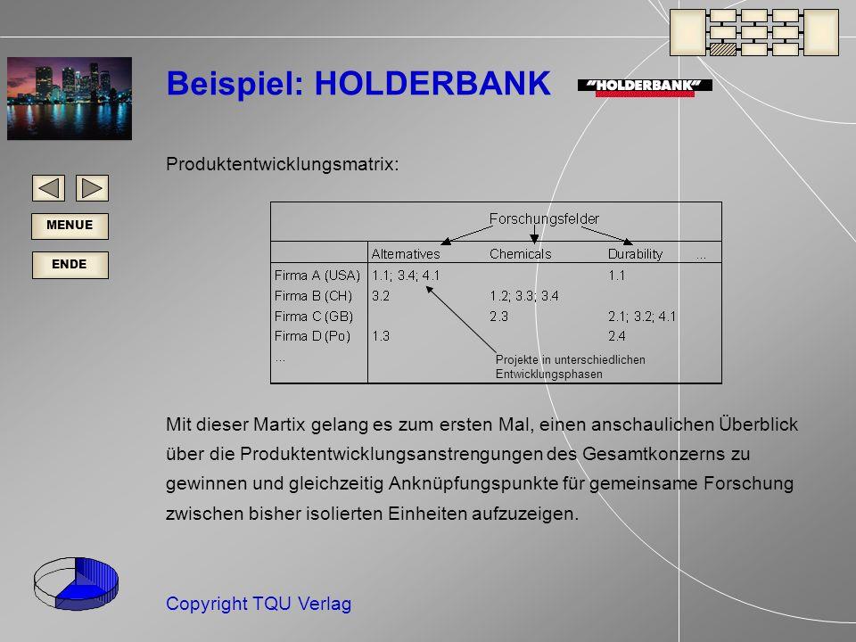 Beispiel: HOLDERBANK Produktentwicklungsmatrix: