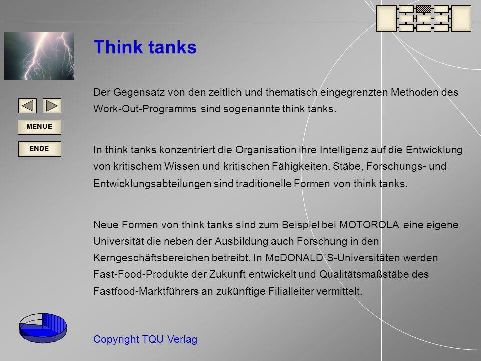 Think tanks Der Gegensatz von den zeitlich und thematisch eingegrenzten Methoden des Work-Out-Programms sind sogenannte think tanks.