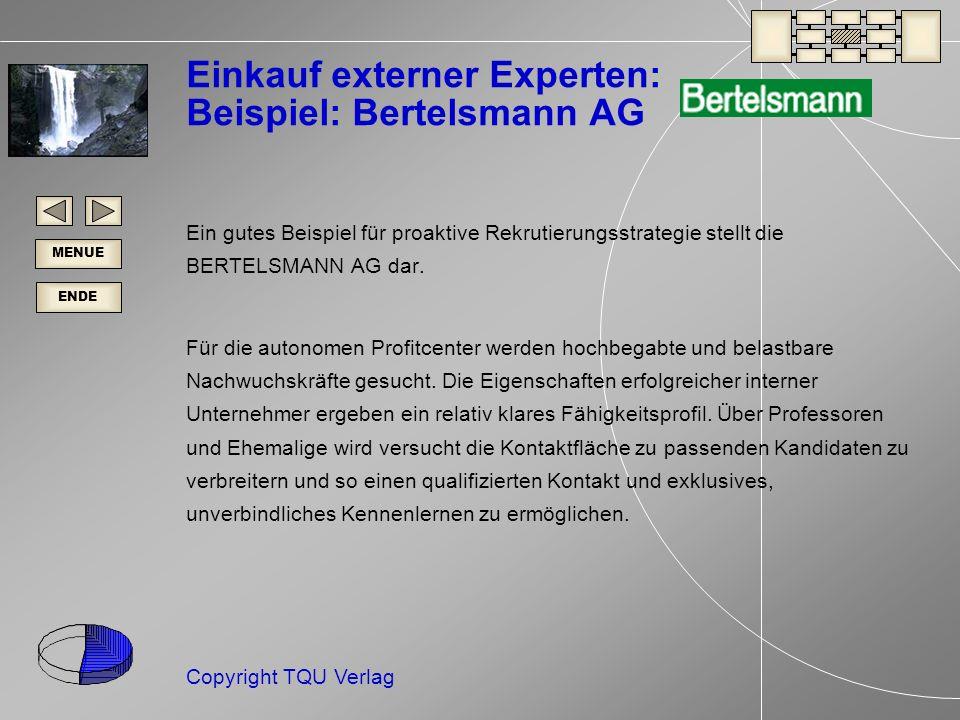 Einkauf externer Experten: Beispiel: Bertelsmann AG