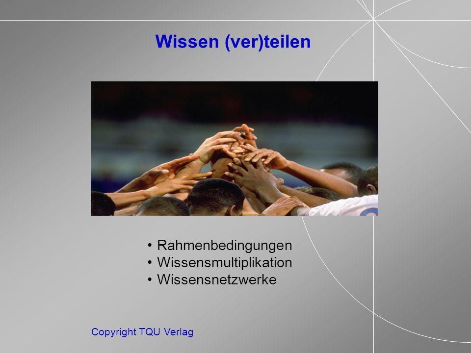 Rahmenbedingungen Wissensmultiplikation Wissensnetzwerke