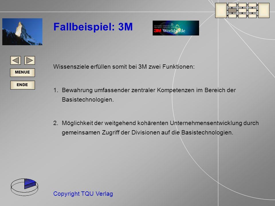 Fallbeispiel: 3M Wissensziele erfüllen somit bei 3M zwei Funktionen: