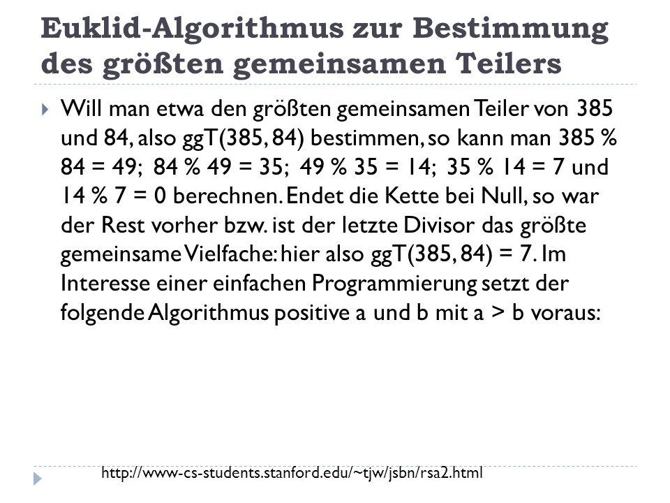Euklid-Algorithmus zur Bestimmung des größten gemeinsamen Teilers