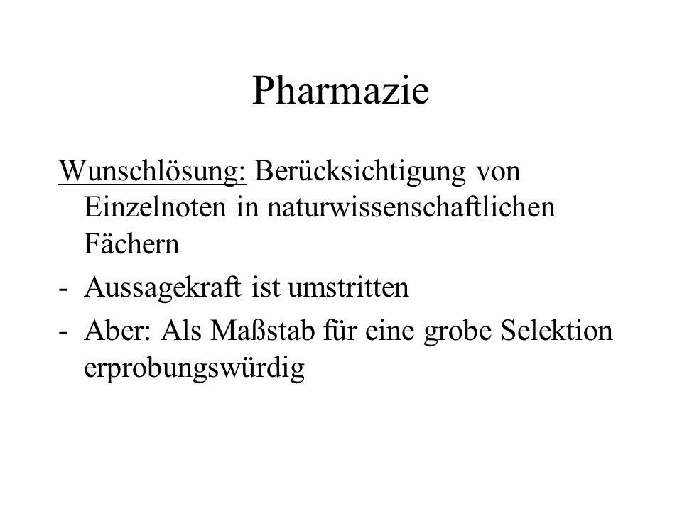 Pharmazie Wunschlösung: Berücksichtigung von Einzelnoten in naturwissenschaftlichen Fächern. Aussagekraft ist umstritten.