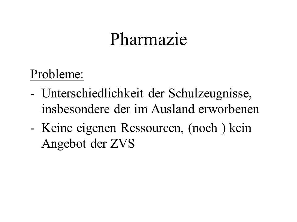Pharmazie Probleme: Unterschiedlichkeit der Schulzeugnisse, insbesondere der im Ausland erworbenen.