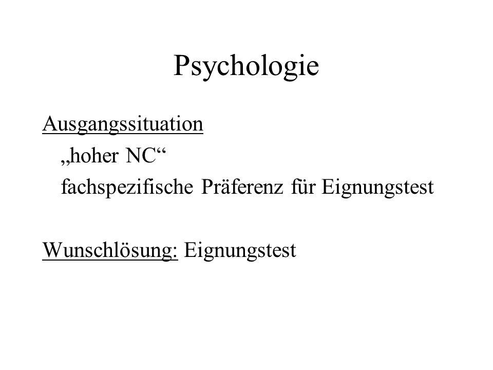 "Psychologie Ausgangssituation ""hoher NC"