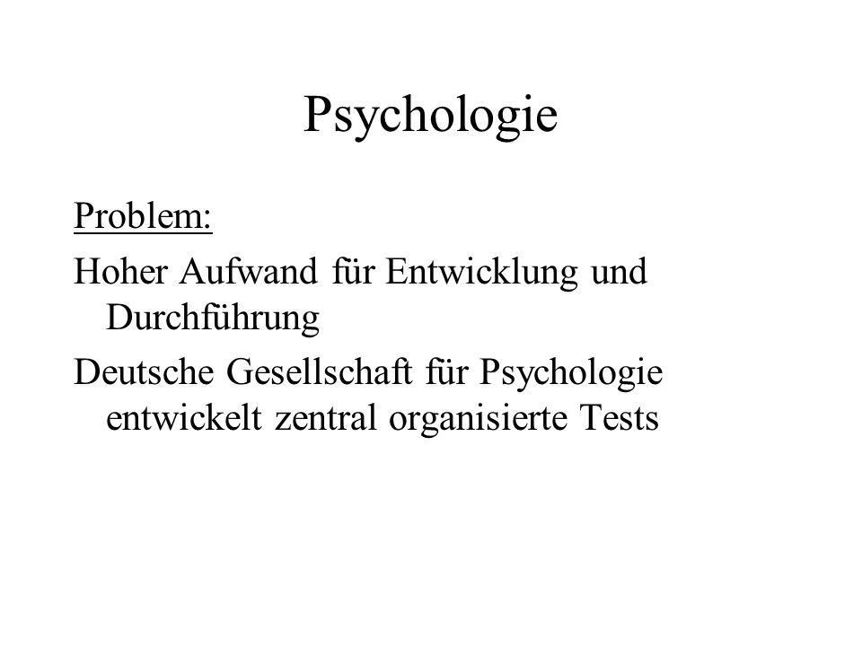 Psychologie Problem: Hoher Aufwand für Entwicklung und Durchführung