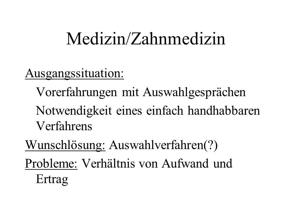Medizin/Zahnmedizin Ausgangssituation: