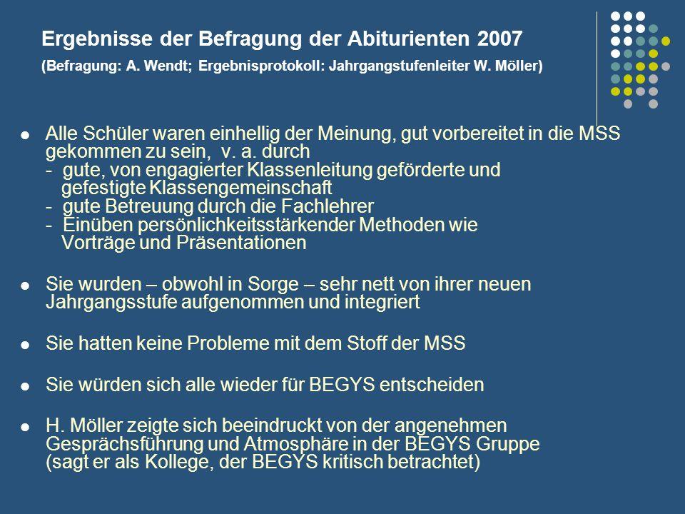 Ergebnisse der Befragung der Abiturienten 2007 (Befragung: A