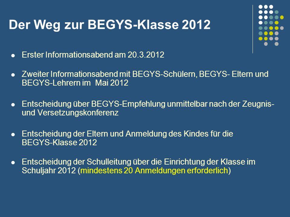 Der Weg zur BEGYS-Klasse 2012