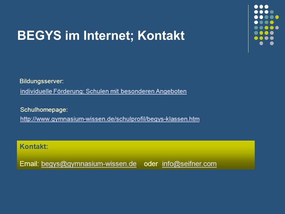 BEGYS im Internet; Kontakt