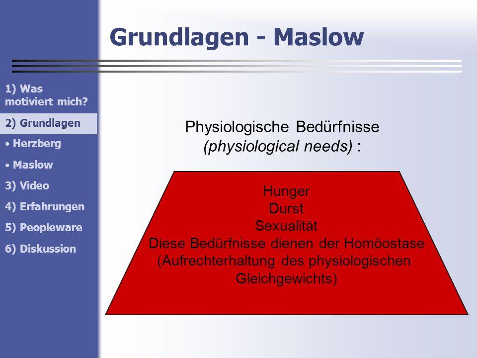 Grundlagen - Maslow Physiologische Bedürfnisse (physiological needs) :