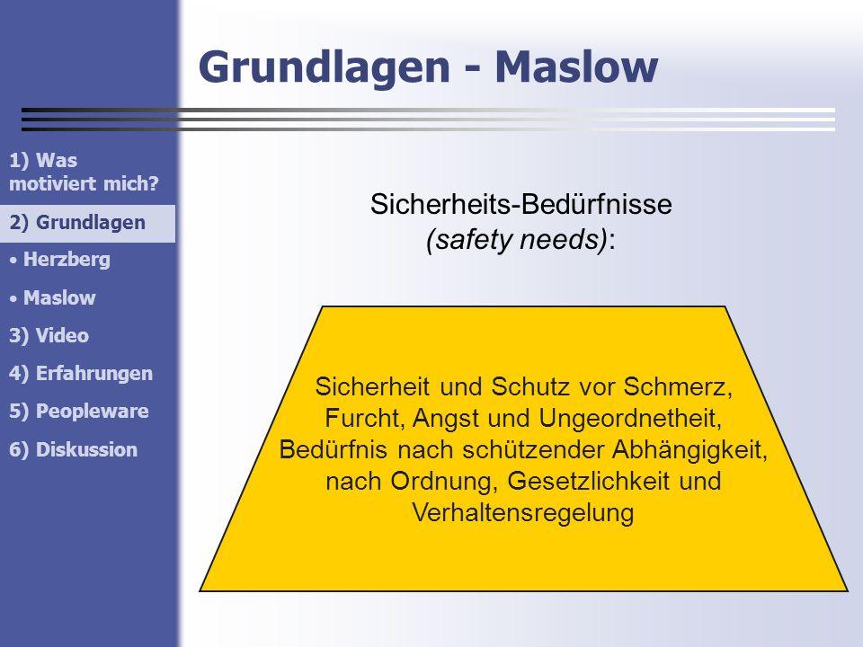 Sicherheits-Bedürfnisse (safety needs):