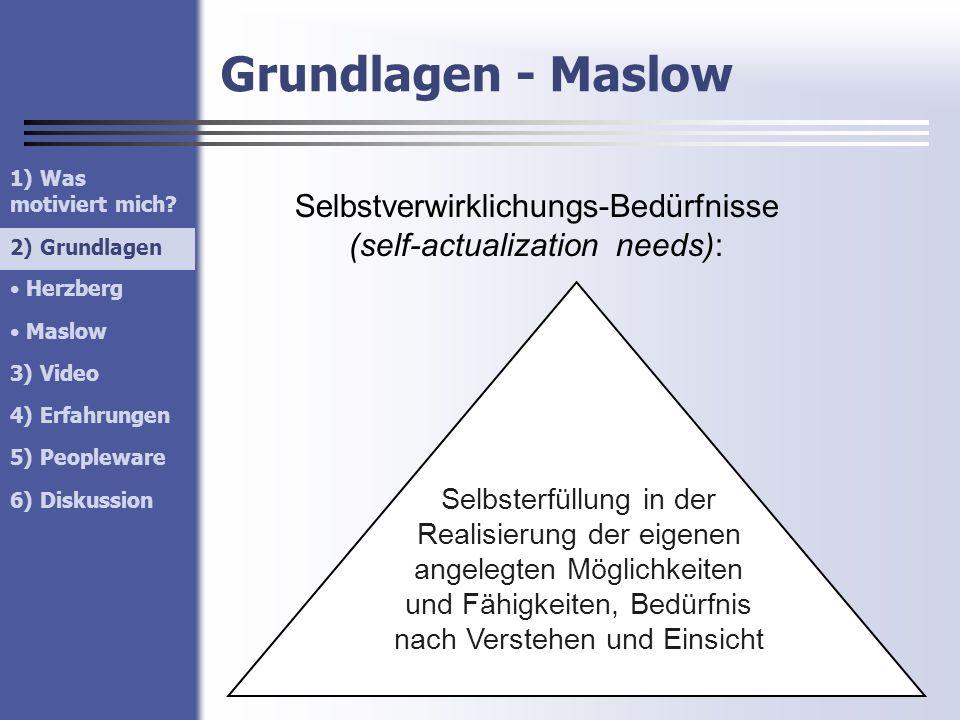 Selbstverwirklichungs-Bedürfnisse (self-actualization needs):