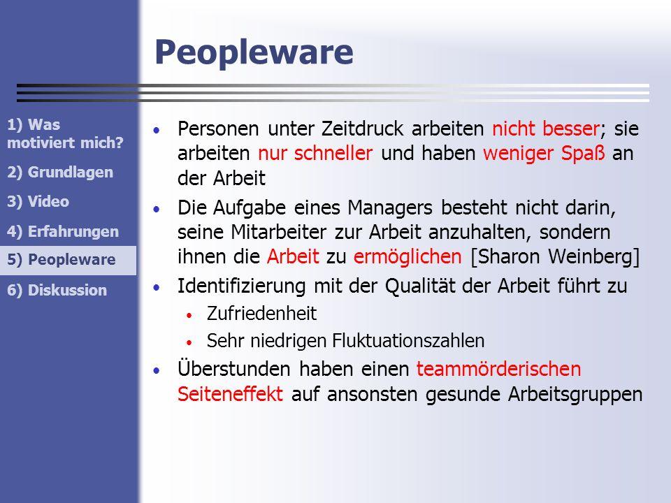 Peopleware 1) Was motiviert mich 2) Grundlagen. 3) Video. 4) Erfahrungen. 5) Peopleware.