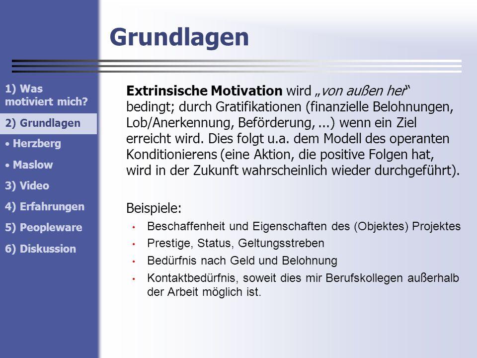 Grundlagen 1) Was motiviert mich 2) Grundlagen. Herzberg. Maslow. 3) Video. 4) Erfahrungen.
