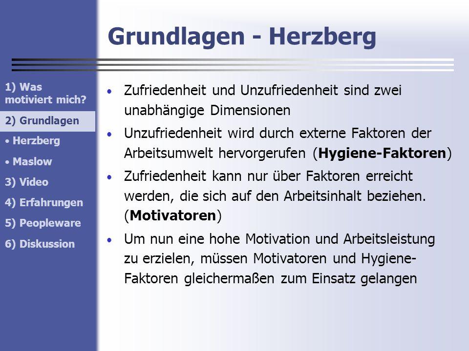 Grundlagen - Herzberg 1) Was motiviert mich 2) Grundlagen. Herzberg. Maslow. 3) Video. 4) Erfahrungen.