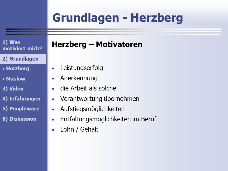 Grundlagen - Herzberg Herzberg – Motivatoren Leistungserfolg