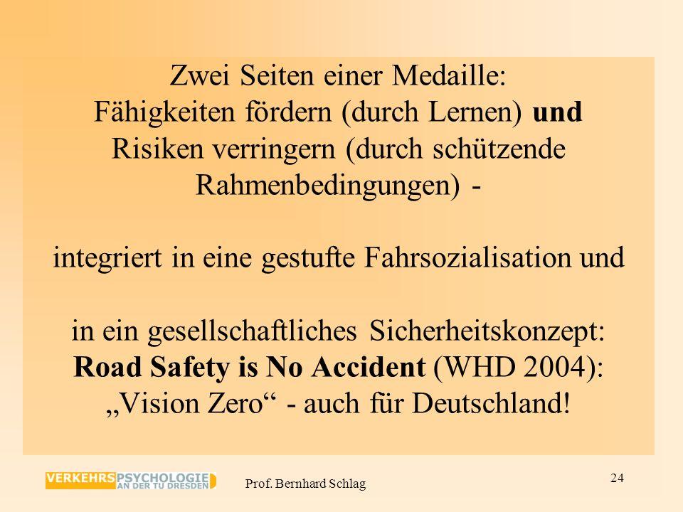 """Zwei Seiten einer Medaille: Fähigkeiten fördern (durch Lernen) und Risiken verringern (durch schützende Rahmenbedingungen) - integriert in eine gestufte Fahrsozialisation und in ein gesellschaftliches Sicherheitskonzept: Road Safety is No Accident (WHD 2004): """"Vision Zero - auch für Deutschland!"""