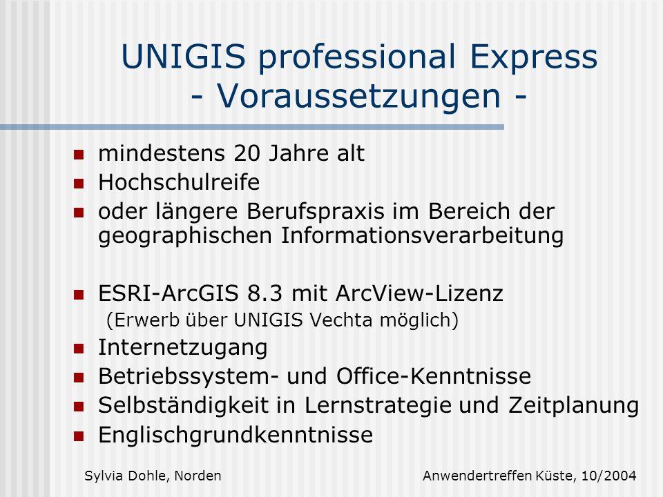 UNIGIS professional Express - Voraussetzungen -