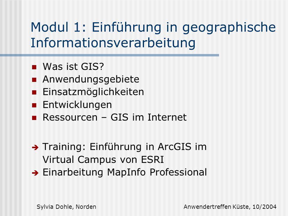 Modul 1: Einführung in geographische Informationsverarbeitung