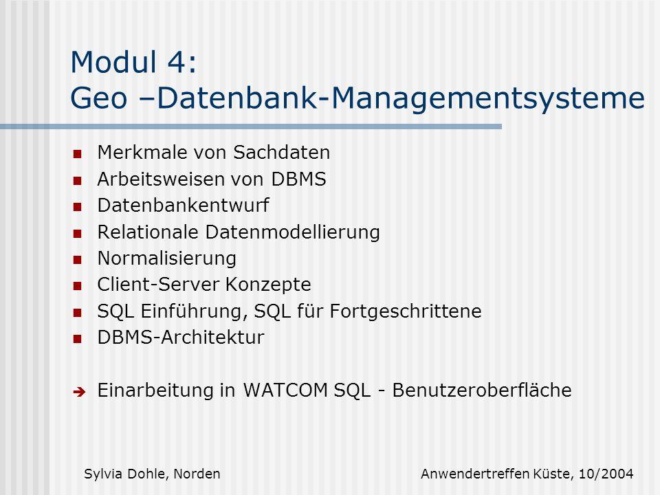 Modul 4: Geo –Datenbank-Managementsysteme
