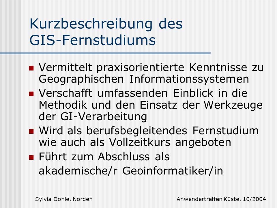 Kurzbeschreibung des GIS-Fernstudiums