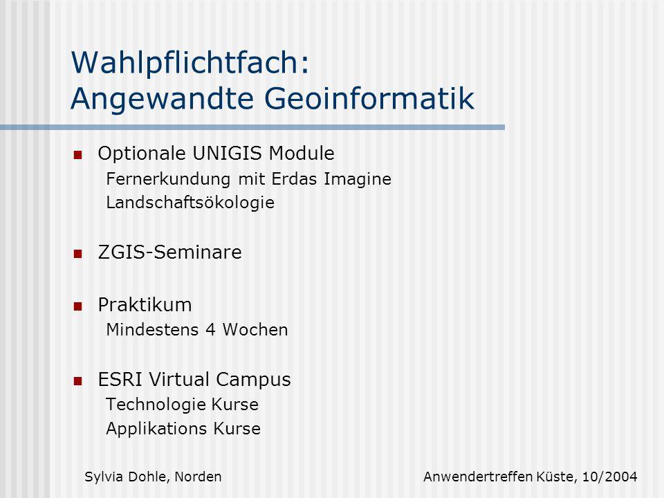 Wahlpflichtfach: Angewandte Geoinformatik