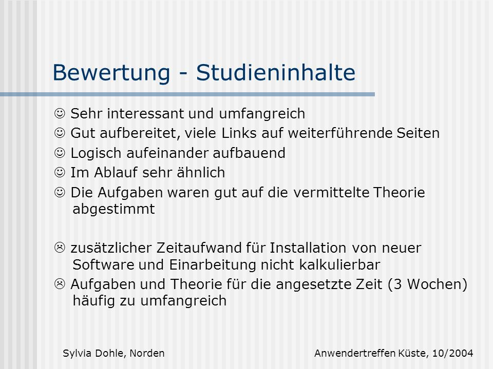 Bewertung - Studieninhalte