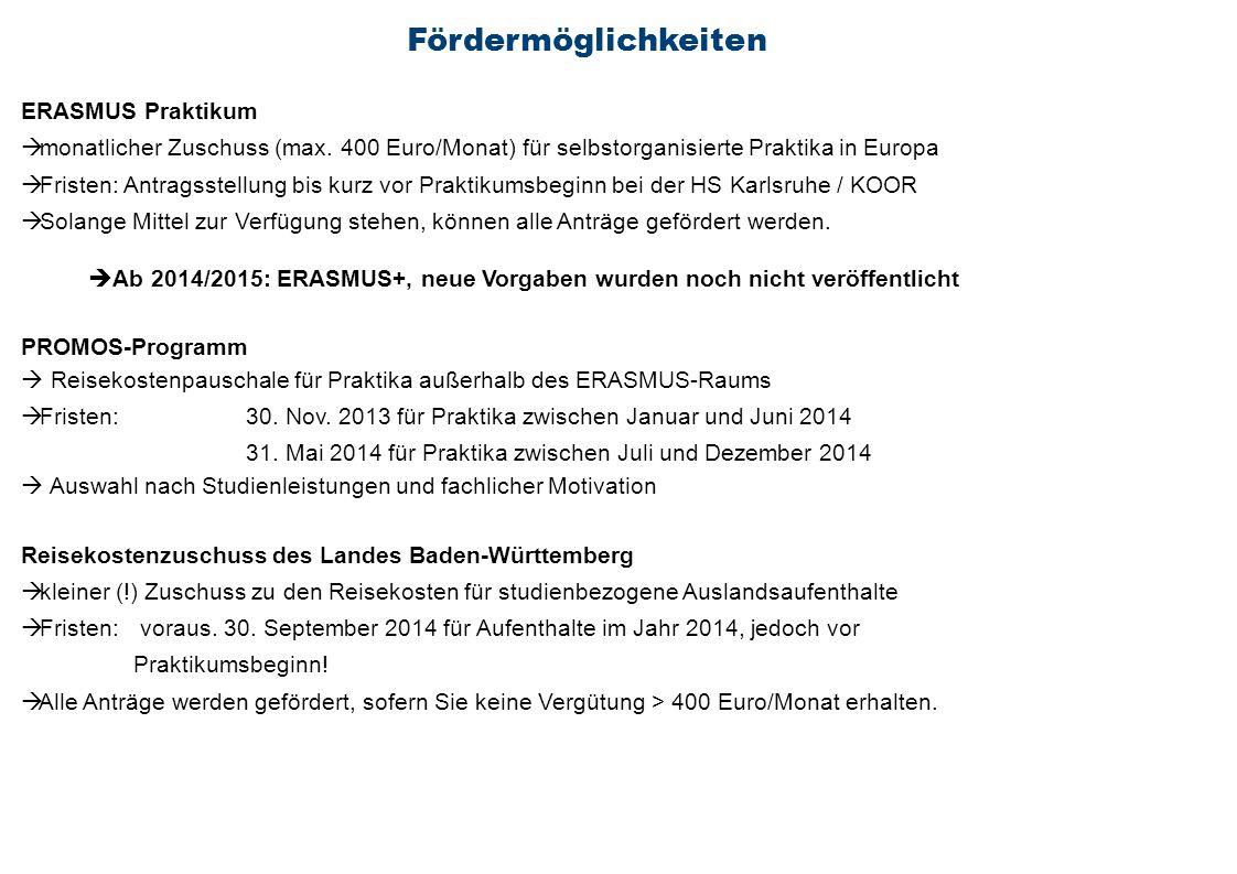 Fördermöglichkeiten ERASMUS Praktikum