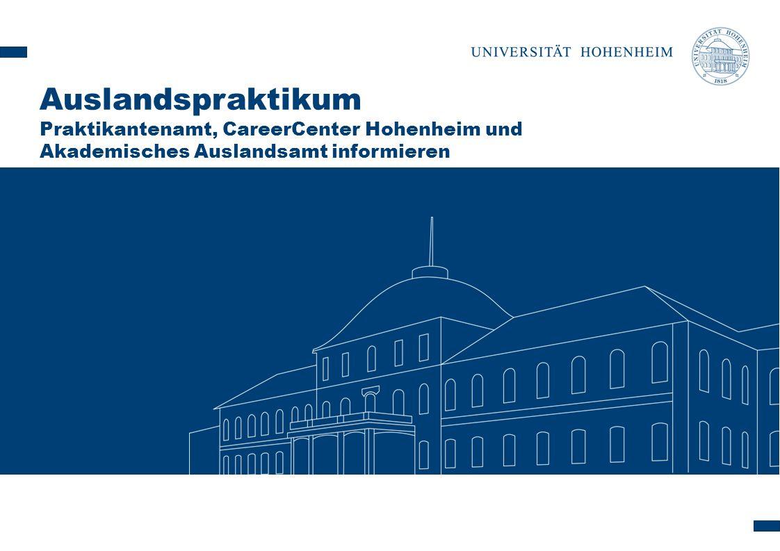 Auslandspraktikum Praktikantenamt, CareerCenter Hohenheim und Akademisches Auslandsamt informieren