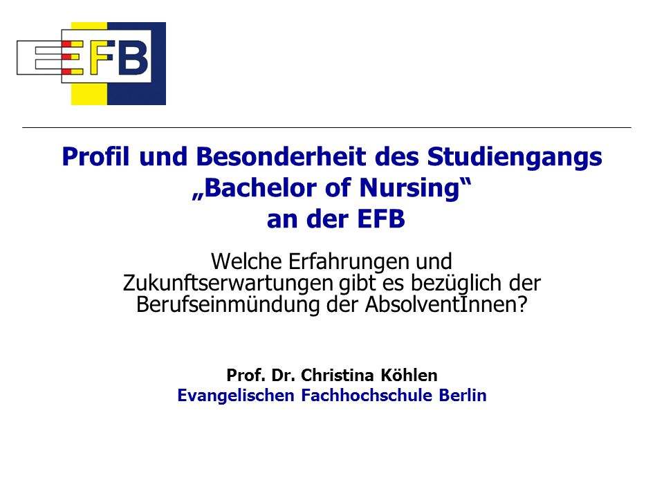 Prof. Dr. Christina Köhlen Evangelischen Fachhochschule Berlin