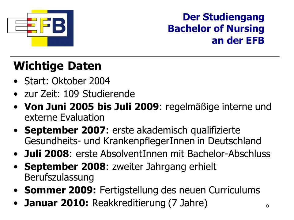 Wichtige Daten Der Studiengang Bachelor of Nursing an der EFB