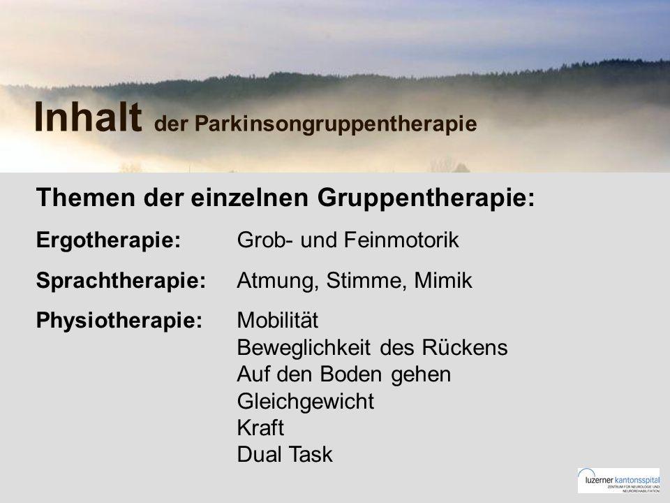 Inhalt der Parkinsongruppentherapie