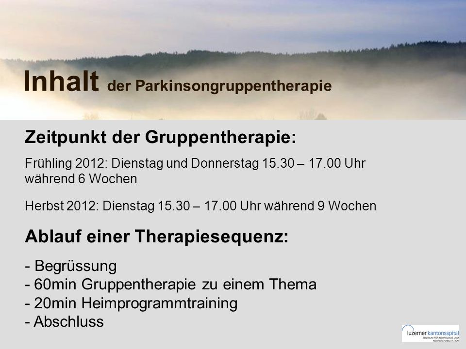 Inhalt der Parkinsongruppentherapie