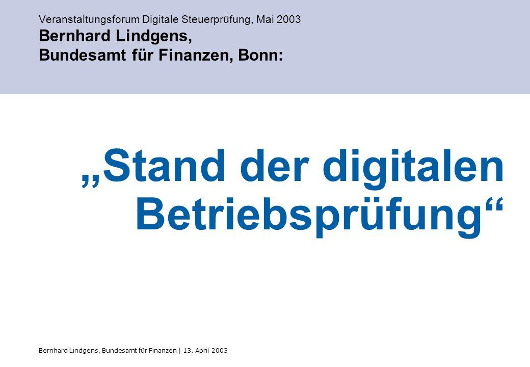 """""""Stand der digitalen Betriebsprüfung"""
