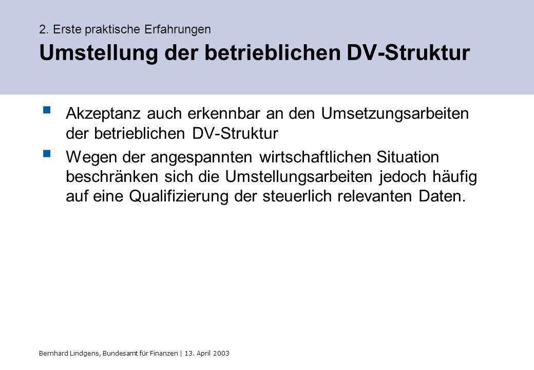 2. Erste praktische Erfahrungen Umstellung der betrieblichen DV-Struktur