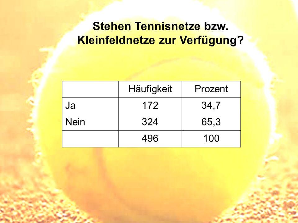 Stehen Tennisnetze bzw. Kleinfeldnetze zur Verfügung