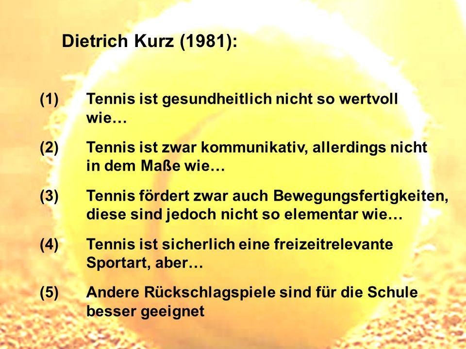 Dietrich Kurz (1981): Tennis ist gesundheitlich nicht so wertvoll wie…