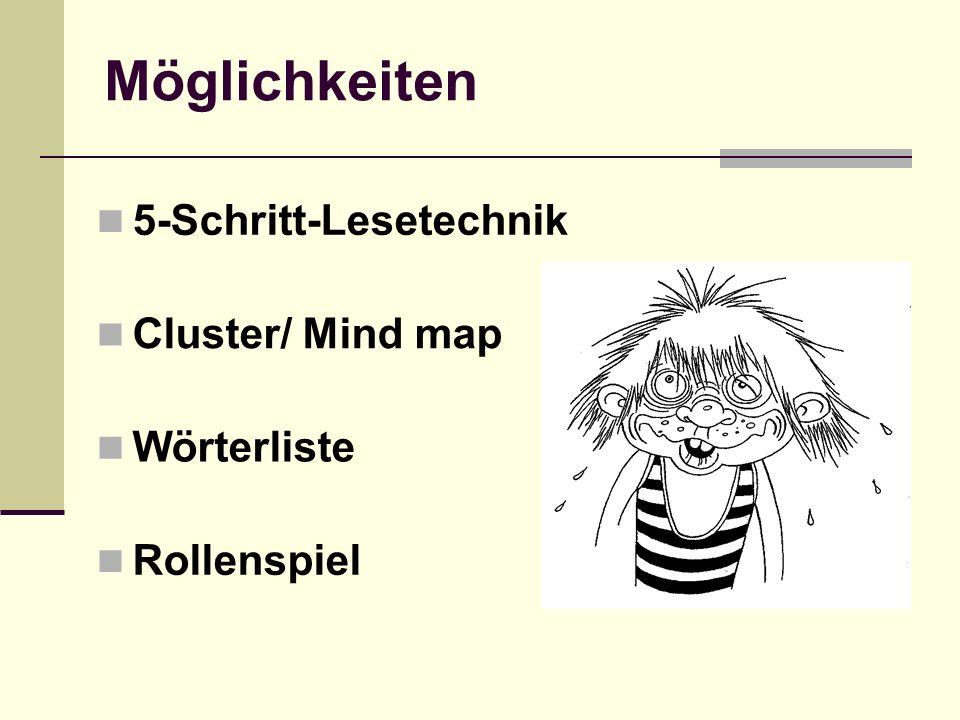 Möglichkeiten 5-Schritt-Lesetechnik Cluster/ Mind map Wörterliste