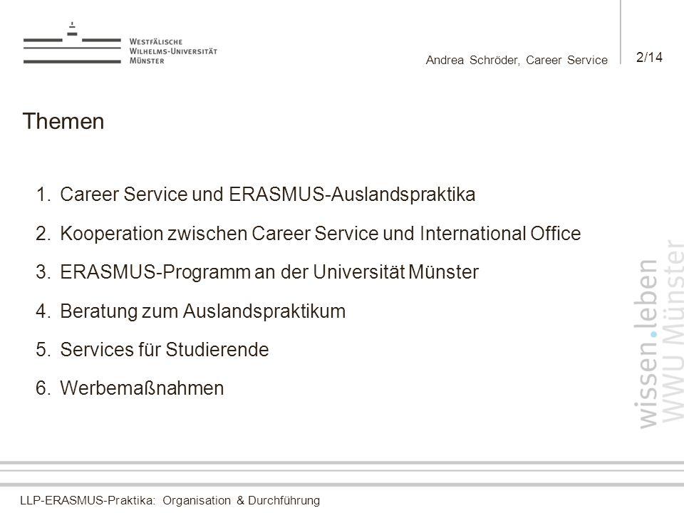 Themen Career Service und ERASMUS-Auslandspraktika