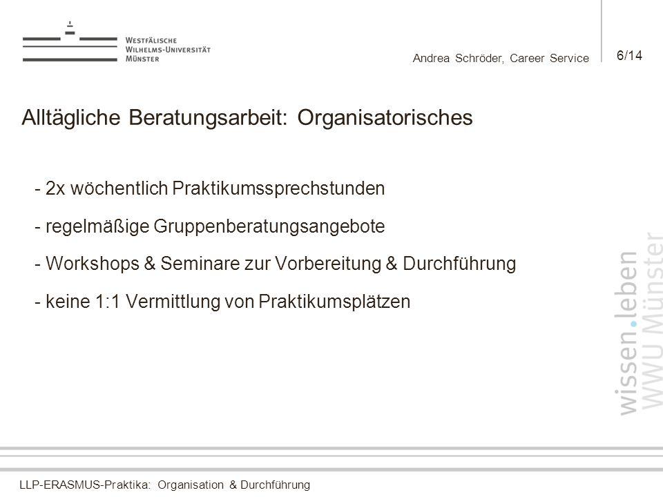 Alltägliche Beratungsarbeit: Organisatorisches