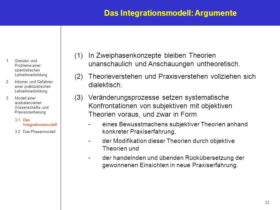 Das Integrationsmodell: Argumente