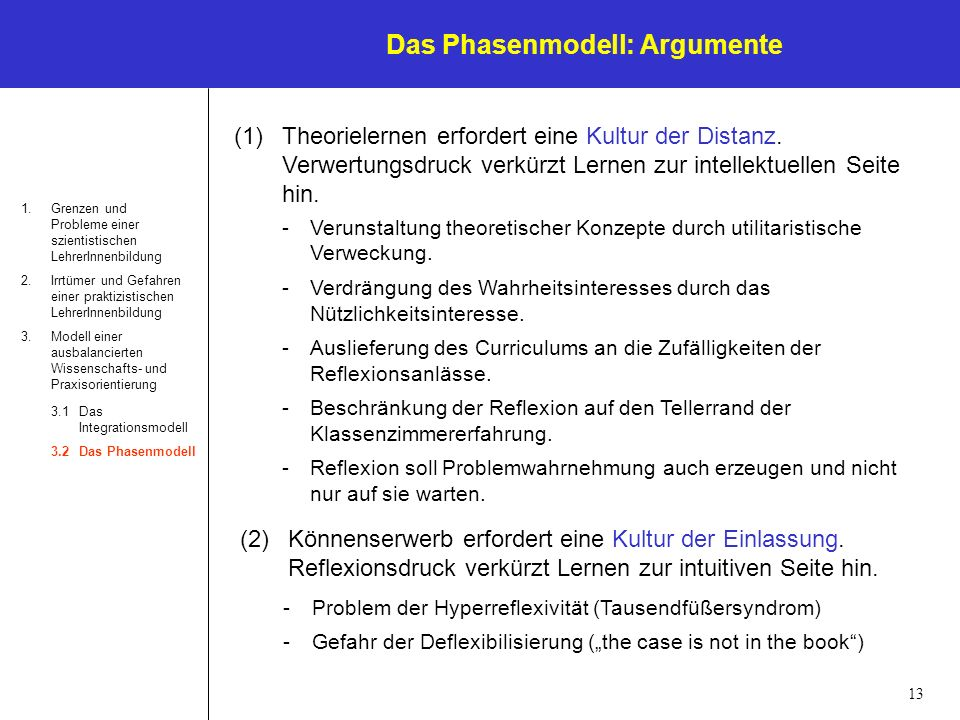 Das Phasenmodell: Argumente