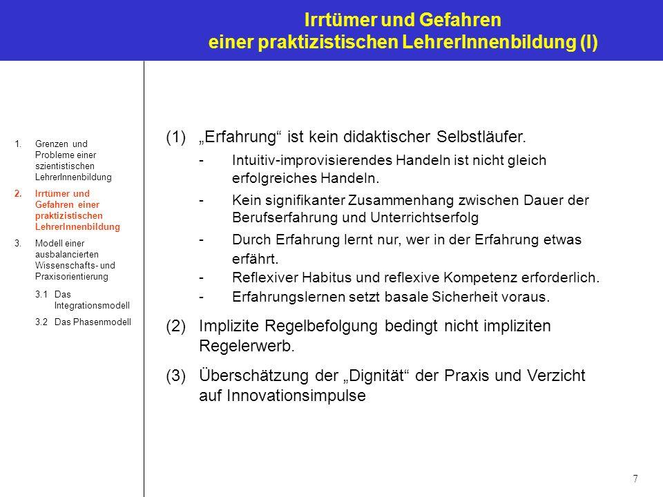 Irrtümer und Gefahren einer praktizistischen LehrerInnenbildung (I)