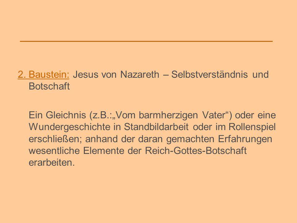 2. Baustein: Jesus von Nazareth – Selbstverständnis und Botschaft
