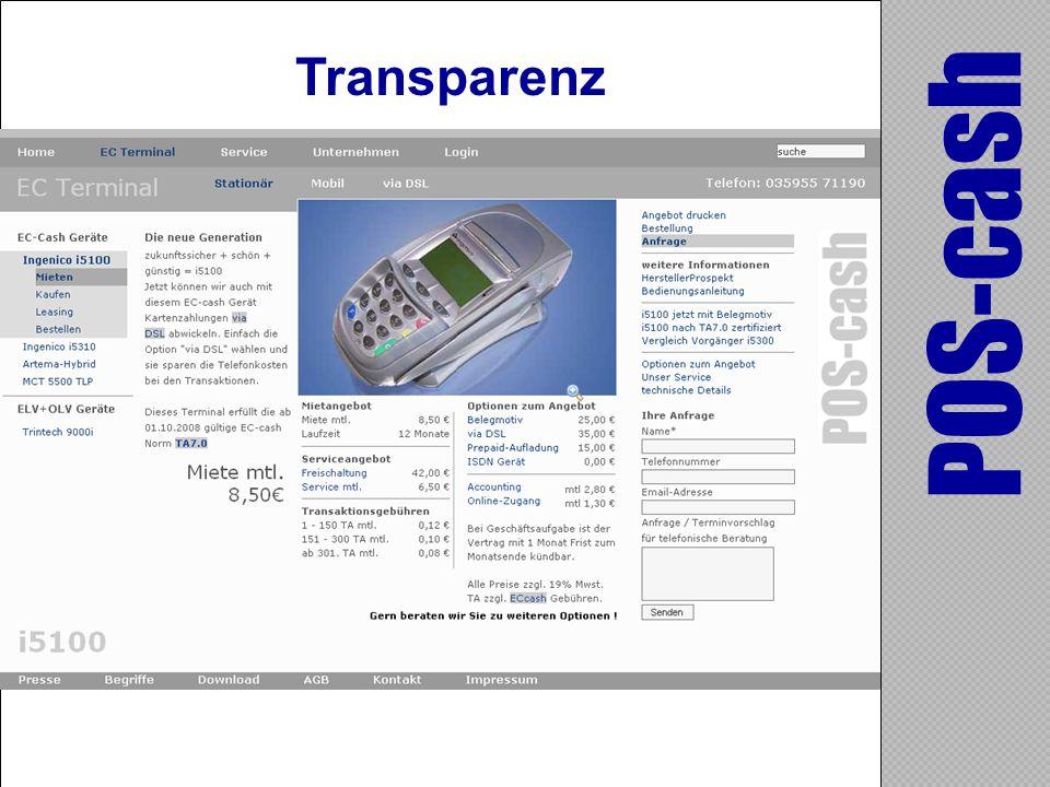 Transparenz POS-cash