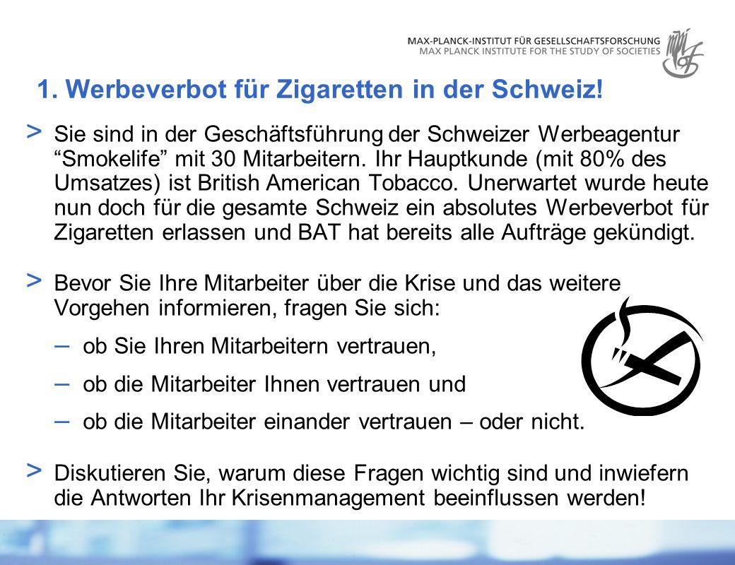 1. Werbeverbot für Zigaretten in der Schweiz!