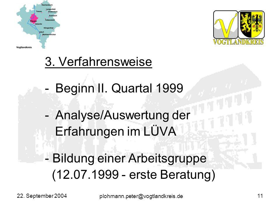 Analyse/Auswertung der Erfahrungen im LÜVA