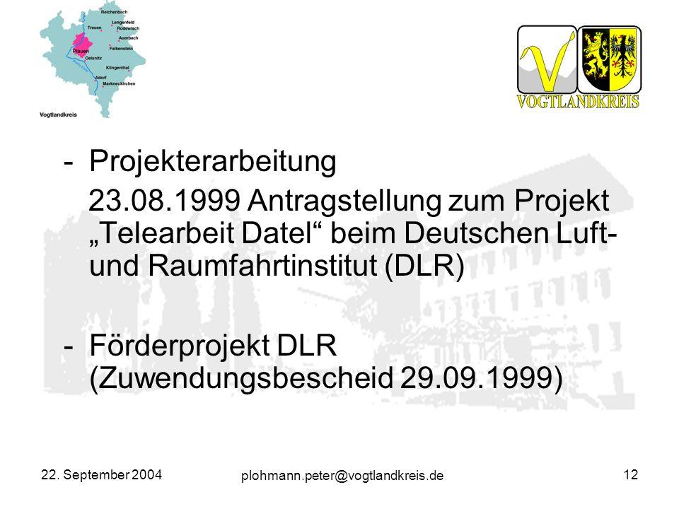 Förderprojekt DLR (Zuwendungsbescheid 29.09.1999)